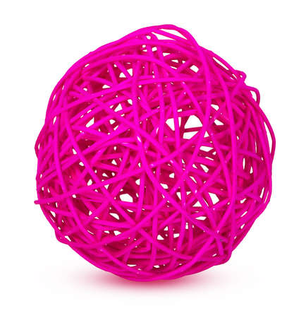 weave ball: pink decorative wicker balls isolated on white background Stock Photo
