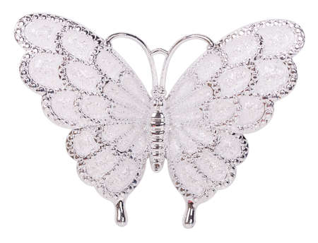 nicety: White butterfly decoration isolated on white background