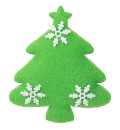 whote: Christmas Tree with snowflakes fabric decoration on the tree isolated on whote background