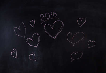 i nobody: hearts and new year 2016, pink painted with chalk