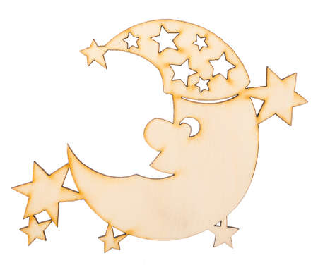 Wooden moon sleep in nightcap with stars isolated on white background