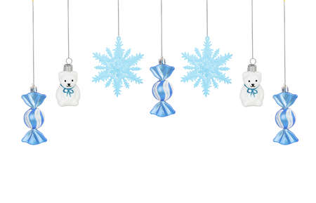 candes: Bright Christmas tree toy blue candes, snowflakes and teddy bears isolated on white background