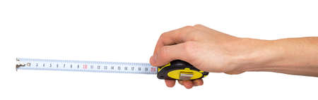 Human hand with tape-measure isolated on white background