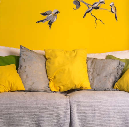 interior sofa with colorful pillows