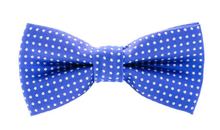 satin dress: blue with white polka dots bow tie isolated on white background