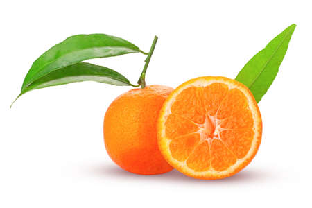 tangerine or mandarin fruit whole and cut in half with green leaves fresh and juicy isolated on white background Stock Photo