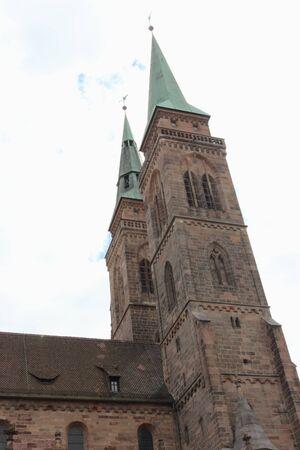 Two towers of church sacred Sebalt in Nurnberg, Germany