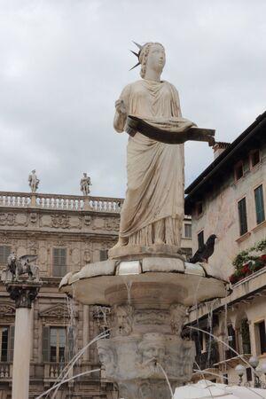 italian fountain: Fountain the Madonna Verona on the square of grasses (Piazza delle Erbe) in the Italian city of Verona