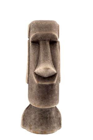 cultura maya: Maya estatua de piedra aislados sobre fondo blanco.