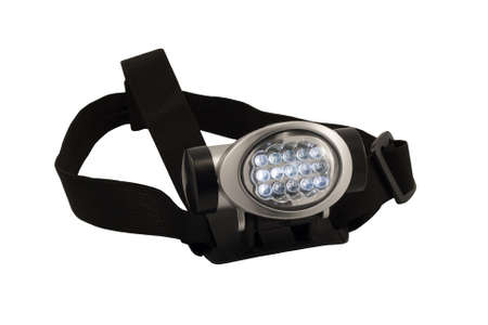 headlamp: isolated headlamp flashlight with straps for the head