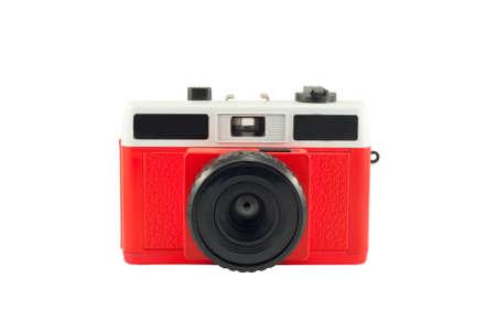 lomography: Old film plastic camera isolated on white. Stock Photo