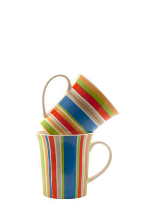 isoleted: Two striped cups isoleted on white background Stock Photo
