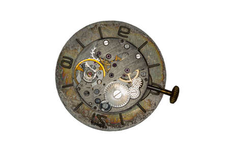 escapement: Old watch mechanism isolated on white background Stock Photo