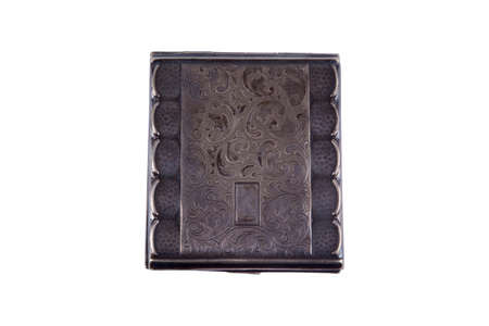 cigarette case: Vintage silver cigarette case isolated on whitw background