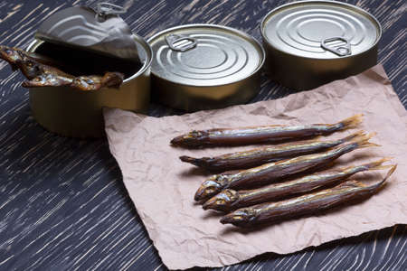 tinned goods: Smoked capelin and conserve tins on dark wooden background