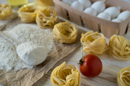 The preparations for making homemade pasta