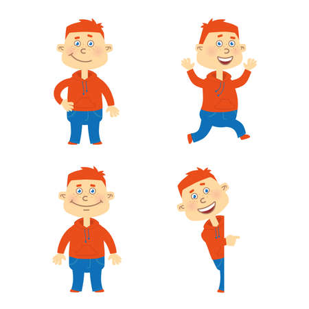 smirk: Set of happy red hair student character in different poses. Orange hoodie, blue jeans. Illustration