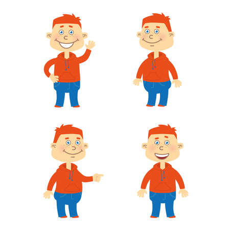 red hair: Set of happy red hair student character in different poses. Orange hoodie, blue jeans. Illustration