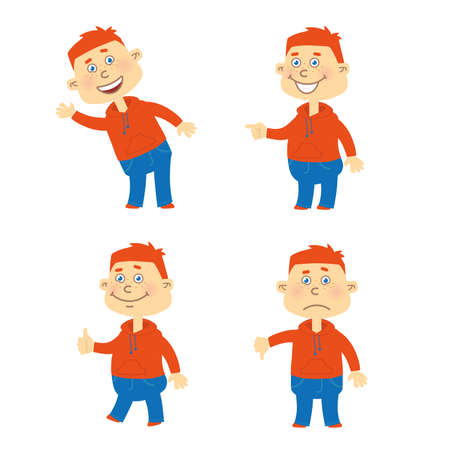 Set of vector happy red hair student character in different poses. Orange hoody, blue jeans. Illustration
