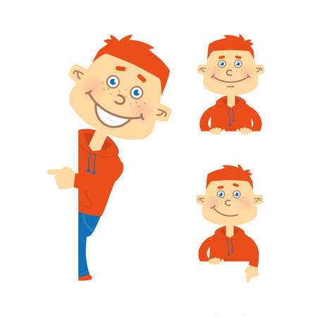 red hair: Set of vector happy red hair student character in different poses. Orange hoody, blue jeans. Illustration