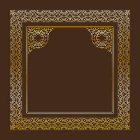 dark brown background: Vector linear border. Geometric arch ornate golden frame on dark brown background. Ornamental vintage pattern for wedding invitations, birthday and greeting cards. Traditional outline decor.  Circles and stars.