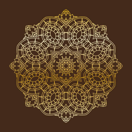 dark brown background: Vector linear circle element. Geometric ornate golden element on dark brown background. Circles and stars. Ornamental vintage pattern for wedding invitations, birthday and greeting cards. Traditional outline decor. Illustration