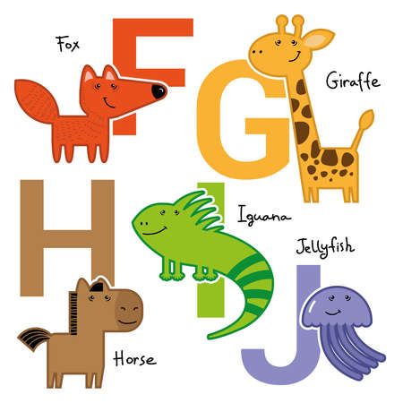roster: Colourful simple childish animals for children and kids