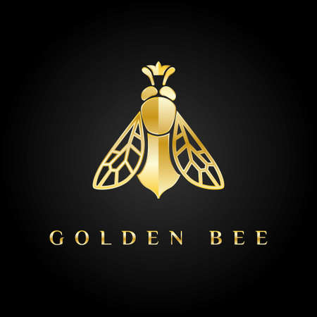 Golden logo. Bee queen with the crown on its head. Editorial