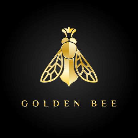 abejas: logotipo de oro. abeja reina con la corona en su cabeza.