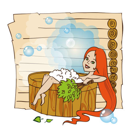 seated: Young red hair woman is laying in wooden bath in Russian sauna.