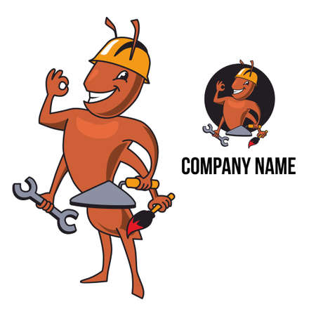 putty knife: Ant character and logo. Ant looks like worker or builder. He is wearing helmet and holding tools in his hands, such as paint brush, putty knife, wrench. Ant shows OK and smiles.