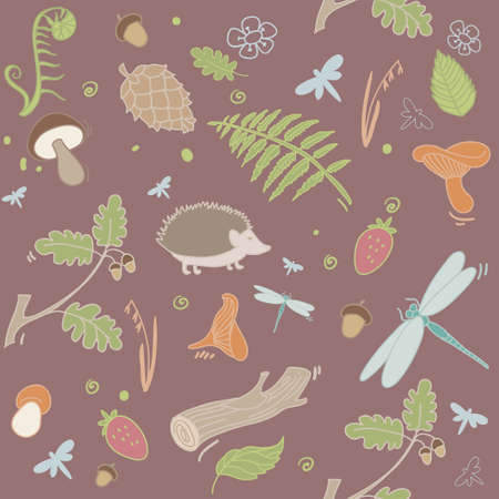 pine cones: Seamless vector forest pattern with pine cones, mushrooms, leaves and animals. Forest background.