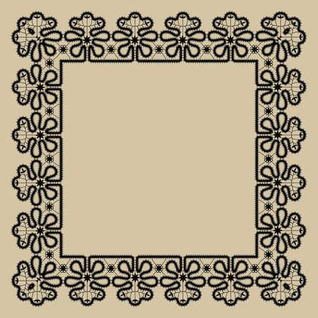Bobbin lace square frame for wedding invitation or greeting card
