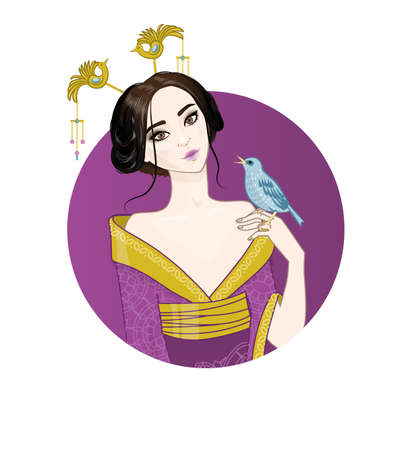 spouses: asian girl (woman) at circle background holds bird on her hand. Chinese or Japanese or Corean woman wearing national purple costume.