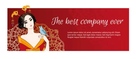red dress: banner with an asian (chinese, japanese) girl in red dress and blue bird. Red background, golden ornament. Place for your text.