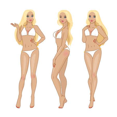 conjunto de tres poses de bikini chica de cabello rubio. Mujer joven atractiva con el pelo rubio en bikini blanco en diferentes poses.