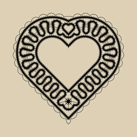 bobbin: black lace heart on beige background. Element for banners, greeting cards, wedding invitation, identity. Bobbin lace in Russian or Italian style. Illustration