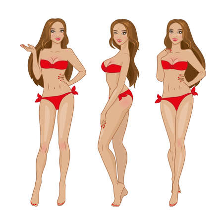 bikini cartoon: sexy brown-haired girl in red bikini swimsuit. Set of poses and emotions. Illustration