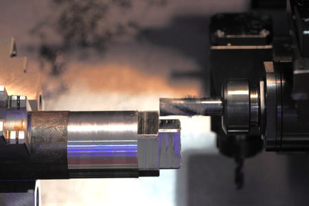 end mill: Metalworking with end mill cutting tool on CNC machine. Stock Photo