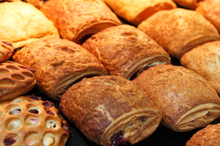 sweet and savoury: Various kinds of pastry pies made of flaky dough.