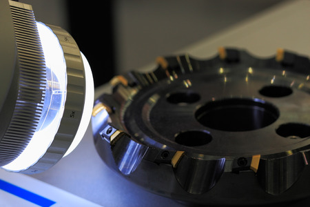 Quality testing of face milling cutter with carbide inserts.