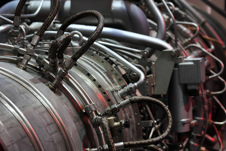 private parts: Close up view of industrial gas turbine. Stock Photo