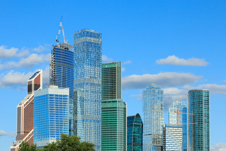 Modern tower buildings in Moscow City business district.