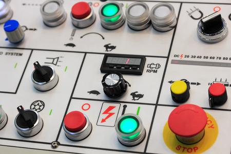 machining center: Control panel of turning machining center. Closeup view.