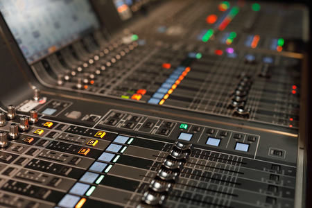 Close up of live sound mixing console. Selective focus. Standard-Bild