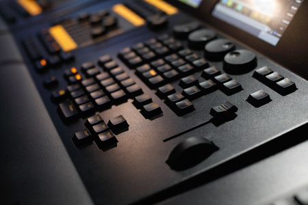 Close up of lighting control console. Selective focus.