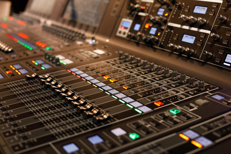 Close up of professional sound mixing console. Selective focus. Standard-Bild
