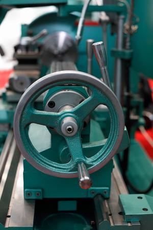 Tailstock of the lathe machine. Selective focus. Standard-Bild