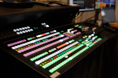Close up view of video production switcher. Selective focus. Standard-Bild