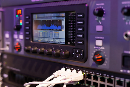 Closeup of the compact digital mixing console. Selective focus. Standard-Bild